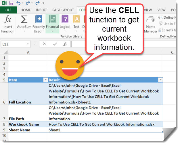 Step-001-How-To-Use-CELL-To-Get-Current-Workbook-Information How To Use CELL To Get Current Workbook Information
