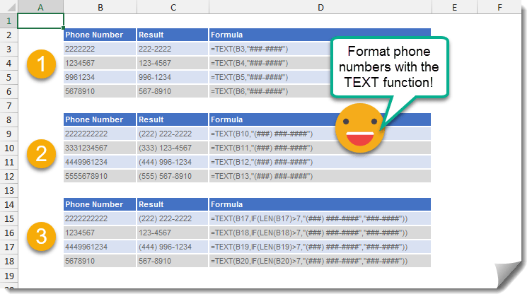How To Format A Telephone Number Using The TEXT Function  How To Excel