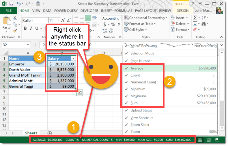 Step-001-How-To-Enable-Status-Bar-Summary-Statistics How To Enable Status Bar Summary Statistics