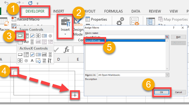 How To Add A Form Control Button To Run Your VBA Code