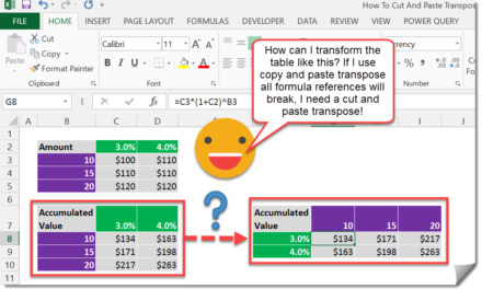 How To Cut And Paste Transpose