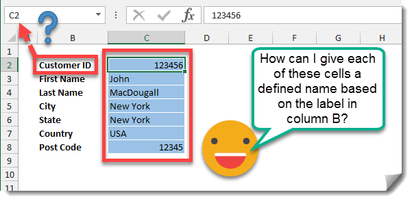 How To Create Multiple Defined Names Based On Labels In Other Cells